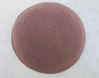 Light Brown Kippah. Handmade Crochet Kippah. Hand knitted Yarmulke. Brown Cotton Yarn. Plain Light Brown Kippah. Light Brown Yarmulke.