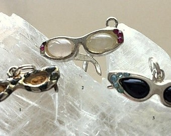 Silver Sunglass Charms - Vintage Sterling  - Little Retro Miniatures or Sunglass Charms - Catseye, Leopard, Rhinestone