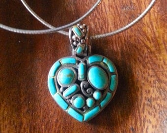 Silver Rope Chain with Tuquoise Heart Pendant.