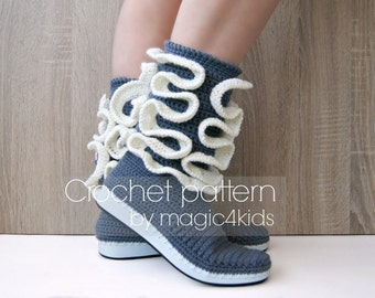 Crochet pattern- women boots with ruffles on rubber soles,any women sizes,summer crochet boots,shoes,street,adult,girl,outdoor,shoemaking
