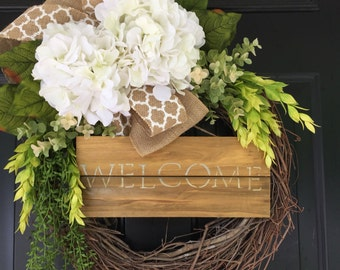 Welcome Wreath - Wreath -Summer Wreath - Mothers Day Wreath -Country Burlap White Hydrangea  Wreath - Housewarming Gift -Wreaths