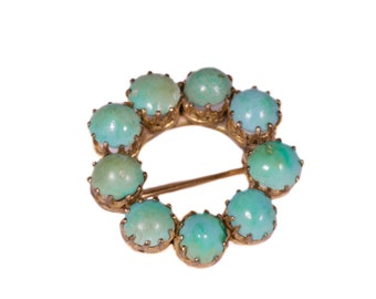 Solid 14K Yellow Gold Brooch Featuring 9 Round Cabochon Cut Turquoise