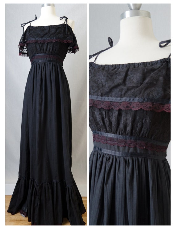 70s Gunne Sax Vintage Gothic Black Lace Ruffle Bodice Maxi Dress With Satin and Purple Lace Details Appx Size Extra Small (1970s)