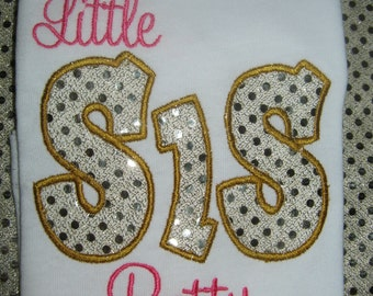 Personalized Little Sister Sibling Shirt shown here in pink and gold