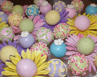 12 Cake Pops, Flowers, nonpareil candy, Birthday Party, Graduation, Summer Party