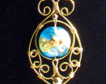 Filigree Necklace in gold wire with Lampwork Glass Bead- Waves