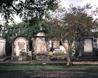 New Orleans Cemetery Vintage Color Photograph, Cemetary, Graveyard, Print, Photo