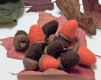10 Needle Felted Acorns With Real Caps For Autumn Home/Office Decor Collectibles