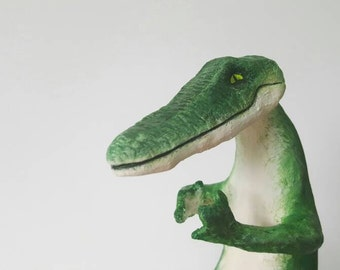 "CROCODILE - OOAK mixed media animal sculpture, hand painted papier mache figure ""Cordelia the Meditating Crocodile"""