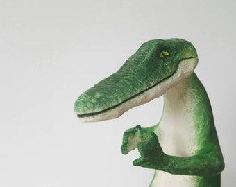 "CORDELIA CROCODILE - OOAK mixed media animal sculpture, hand painted papier mache figure ""Cordelia the Meditating Crocodile"""