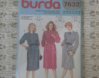 burda dress pattern size 12 to18 unused