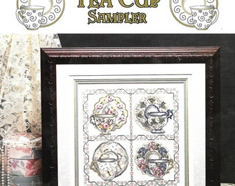 Tea Cup Sampler, Cross Stitch Pattern, Stoney Creek Collection