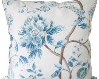 Designer Decorative Pillow Cover-Kravet-Blue Floral-Accent Pillow-Sofa Pillow-Toss Pillow-Double Sided-Pillow Cushion