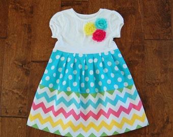 On sale**Rainbow chevron dress**Pastel colors**Blue aqua polka dots**Toddler girl dress**Spring summer dress, flowers**Zig zag dress