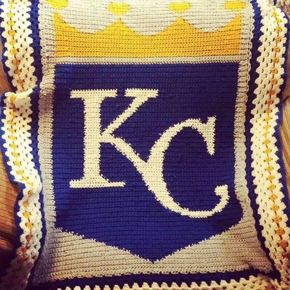 Crochet Pattern Kansas City Chiefs Afghan : Kansas City Royals Crochet Afghan Blanket by ...