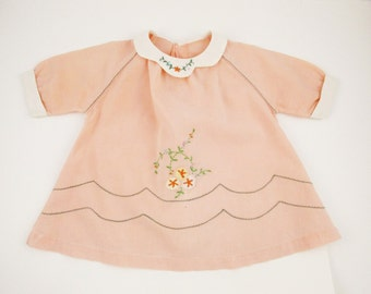 A Peach Pink Linen Dress - Raglan Sleeves - Sizes 1 - 6  - White Collar and Cuffs - Embroidery Detail - Homemade Style and Fun - Dress