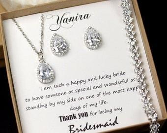 Wedding Jewelry Set ,Bridesmaid Gift, Bridesmaid Jewelry Set, Bridesmaid Earrings, Necklace Bracelet Set, Personalized Bridesmaid Gift