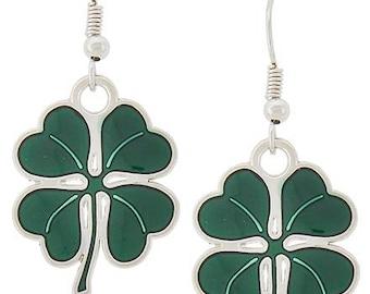 Lucky Shamrock Earrings, Clover Earrings, St. Patrick's Day Earrings, Irish Earrings, Green Earrings, Four Leaf Clover Earrings