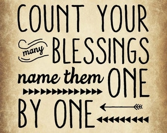 Count you Blessings one by one 8x10 digital wall art print
