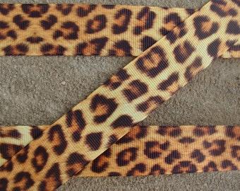 "Leopard ribbon animal print ribbon 3 yards 1"" Leopard Printed Grosgrain Ribbon Hair Bow Ribbon craft supplies"