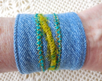 Fabric Cuff Bracelet in denim, yarn design, recycled jeans, upcycled earth friendly cuff, vintage jean jewelry, for 6 to 6 1/4 inch wrist