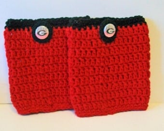 Trendy Red and Black Bulldogs Inspired Hand Crocheted Boot Cuffs Cute Accessory 5 Sizes Available