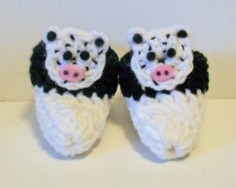 Cute Black and White Spotted Cow Hand Crocheted Baby Bootie Shoes Great Photo Prop Matching Hat & Bib Also Available