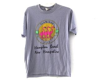 Vintage 80s tshirt flamingo Club Hampton Beach New Hampshire
