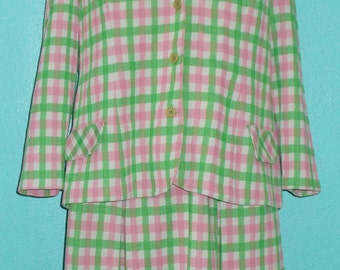 """Sale - all clothing! See shop announcement — 60s-early 70s """"Marcia Brady"""" Pink/Green/White Poly Dress with Matching Jacket — size 14"""
