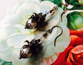 Romantic Vintage Style Bronze and Swarovski Pearl Dangle Earrings