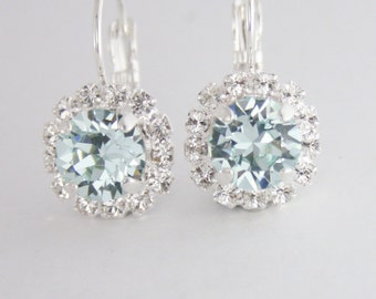 ice blue crystal earrings,duck egg blue crystal earrings,swarovski light azore crystal earrings,duck egg blue wedding,duck egg blue jewelry