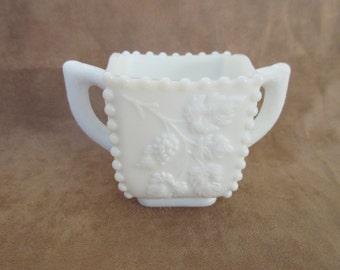 Westmoreland Milk Glass Sugar Dish with Grape Design