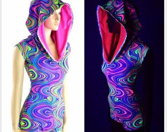 Neon UV Glow Worm Print Cap Sleeve Hoodie Romper with Neon Pink Hood Lining  152473