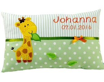 Name cushions giraffe individualized with name and date in green for boys and girls a great gift