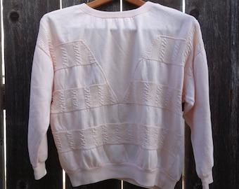 80's Thin Sweatshirt- Women's Small Medium Large - Pale Peach 1980's Top Shirt Workout S Sm M Med L Lrg