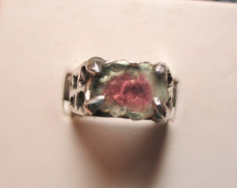 Ladies 3ct watermelon tourmaline slice in sterling silver