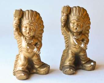 Chalkware Indians Vintage Pair Chalk Ware Figurines