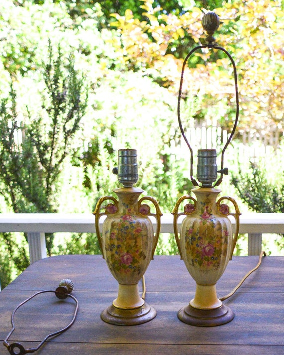 Pair Of Vintage Lamps French Cottage Charm Urn Shaped Lamps