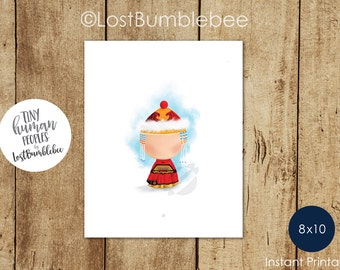 Mongolian Traditional Dress Children's Art Print from our Tiny Human Peoples Collection by LostBumblebee, Size 8x10