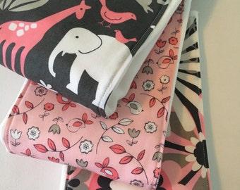 Baby Burp Cloths ~ Cloth Diaper Burp Cloths ~ Michael Miller ~ It's A Girl Thing ~ Pink ~ Gray ~ Zoo Animals