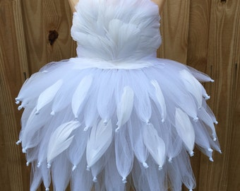 Swan costume/ Swan tutu/ swan tutu dress/ white feather dress/ feather tutu