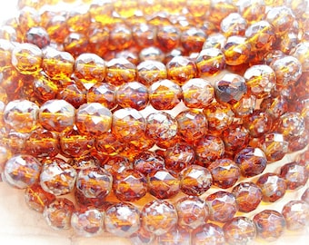 10 Chocolate Brown Speckled Faceted Fire Polished Beads 8 mm