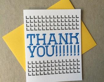 Letterpress Thank You!!!!! card (#TX016)