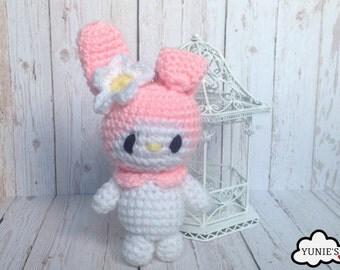 My Melody Crochet, Amigurumi, Bag Charm , Keyring , Stuffed Toy, Bag Accessory
