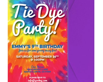 Tie Dye Party Invite - Tie Dye Party Invitation - Tiedye Party Invitation - Tie Dye Party Invite - Personalzied - Printed & Shipped