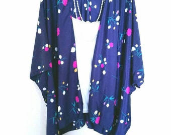 Floral Kimono Cardigan/ Modern Kimono Jacket/ Colorful Lightweight Wrap/ Boho Clothing/ Layering Cardigan / Habutai  Kimono