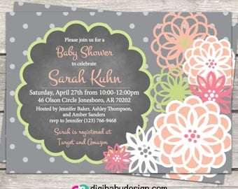 chalkboard baby girl shower invitation with peony flowers in peach, pink, lime green and gray, printable files