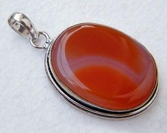 Orange Botswana Agate Pendant, Gemstone Pendant, Silver-Plated Pendant SH-22