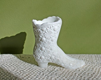 Fenton Boot Toothpick Holder or Miniature Vase. Milk Glass Vase in Shape of Boot. Sculpture or Vase with Scalloped Edge.