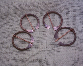 Handforged antique copper brooch blanket pin